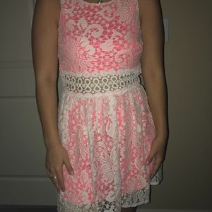 Pink and White Lace Party Dress